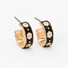 Gold 15MM Thick Daisy Hoop Earrings - Black,