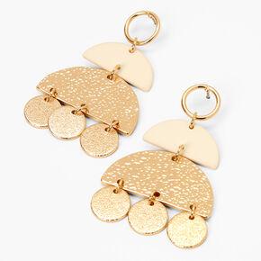 "Gold 2"" Hammered Geometric Drop Earrings - Cream,"