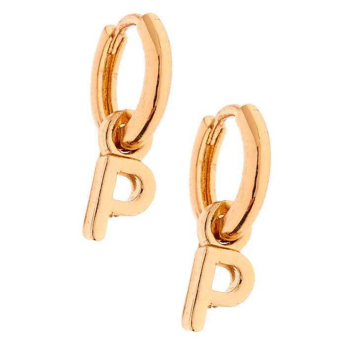 Gold 10MM Initial Huggie Hoop Earrings - P,
