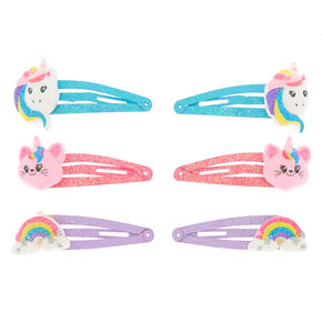 Claire's Club Rainbow Snap Hair Clips - 6 Pack,