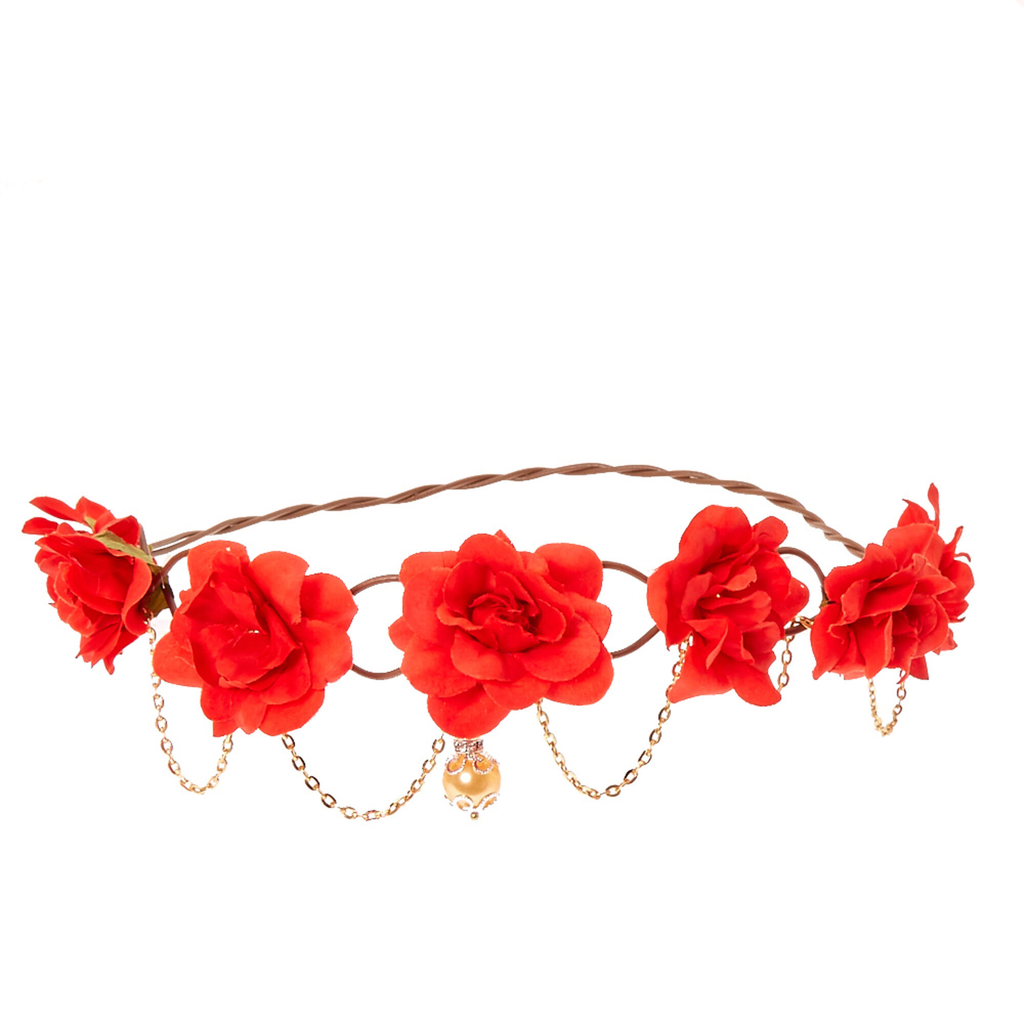 Red flowers and golden chain hair flower crown claires red flowers and golden chain hair flower crown izmirmasajfo