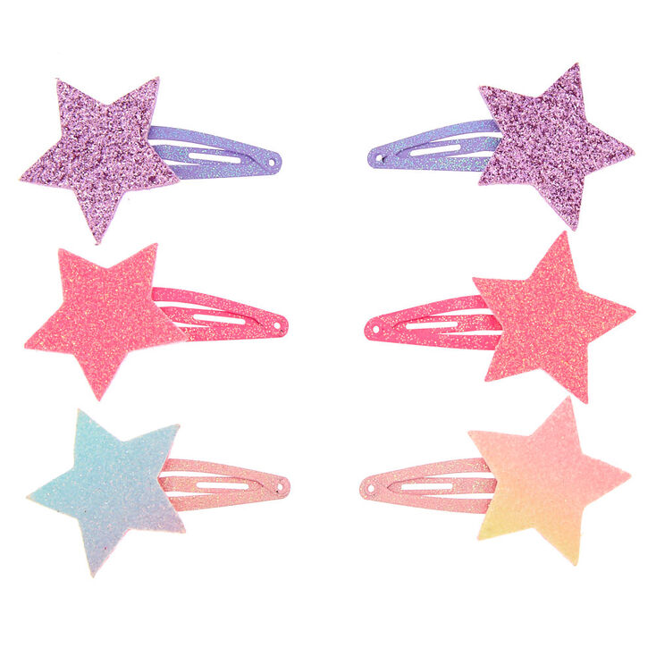 Claire's Club Glitter Star Snap Hair Clips - 6 Pack,