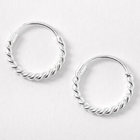 Tiny 12mm hinged Sleeper Hoop Earrings Sterling Silver and Rainbow Colour Epoxy