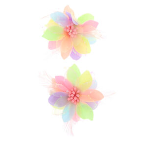 461fece4be Pastel Rainbow Lily Flower Hair Clips - 2 Pack