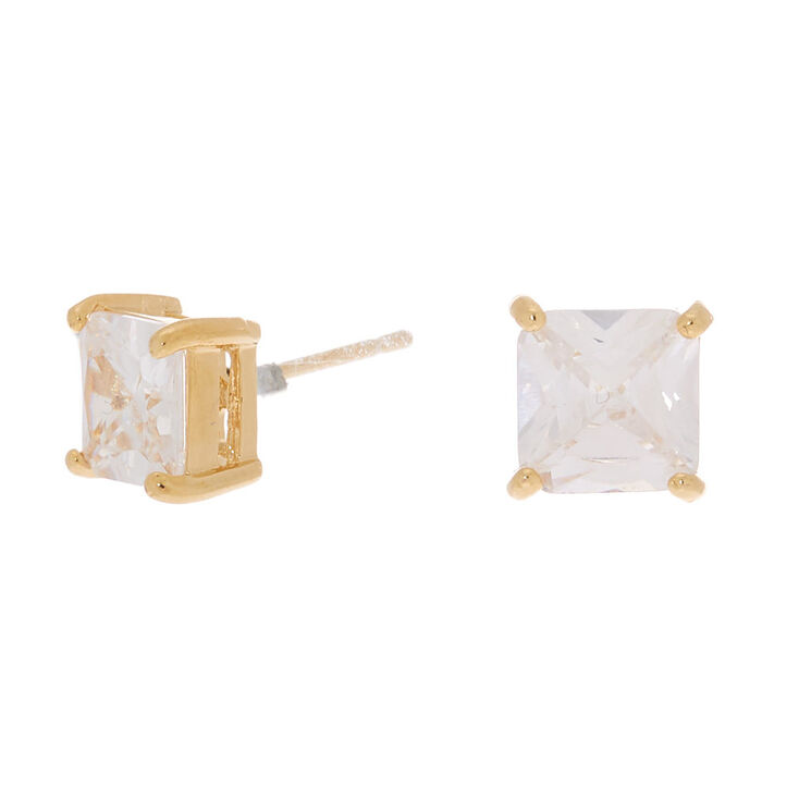 18kt Gold Plated Cubic Zirconia Square Stud Earrings - 7MM,