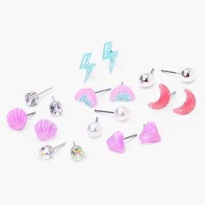 Silver Pastel Rainbow Glitter Stud Earrings - 9 Pack,