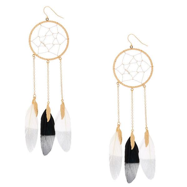 "Claire's - 5"" feather dreamcatcher drop earrings - 1"