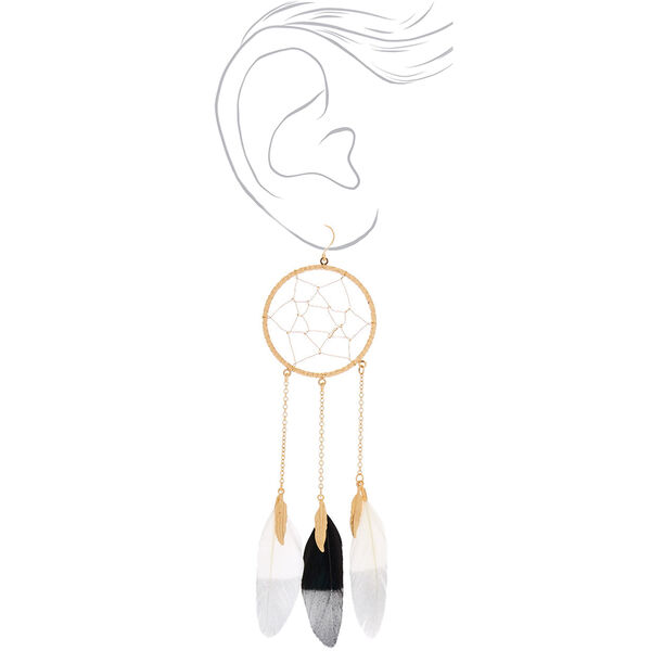"Claire's - 5"" feather dreamcatcher drop earrings - 2"