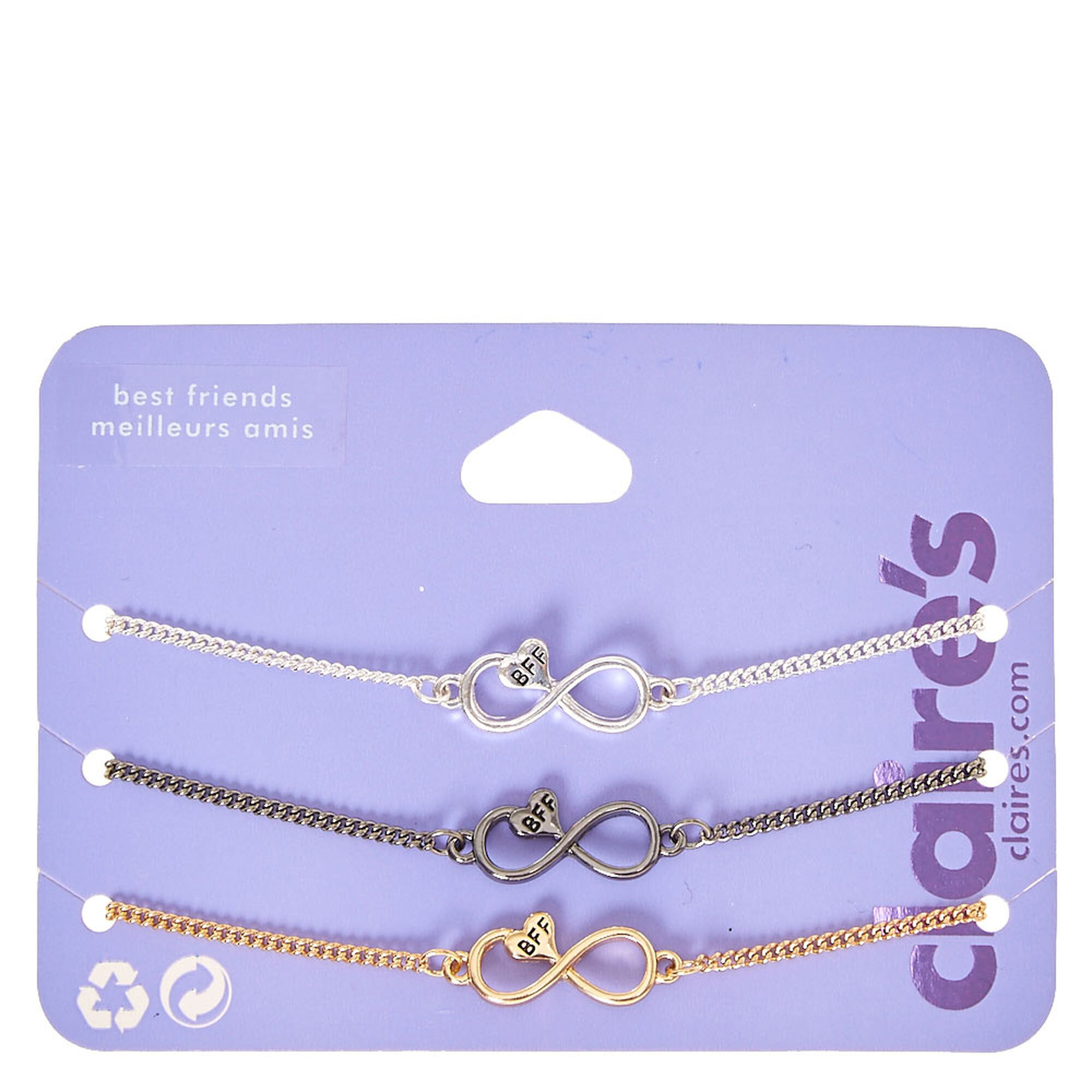 Best Friends Mixed Metal Infinity Symbol With Heart Bracelets