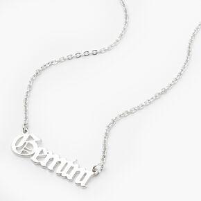 Silver Gothic Zodiac Pendant Necklace - Gemini,