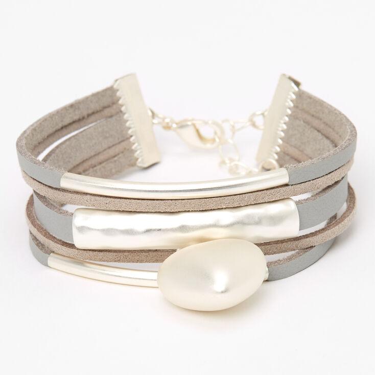 Bracelet double tour de poignet superposé avec breloque cœur bouffant,