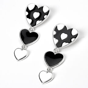 Silver Triple Hearts Enamel Drop Earrings - Black/White,