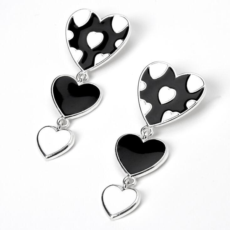 Silver Triple Hearts Enamel Drop Earrings - Black/White,