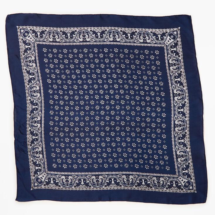 Bandeau bandana soyeux imprimé floral et cachemire - Bleu marine,