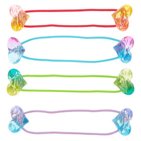 Claire's Club Heart Gem Hair Bobbles - 4 Pack,