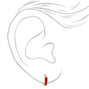 Gold 10MM Huggie Hoop Earrings - Red,
