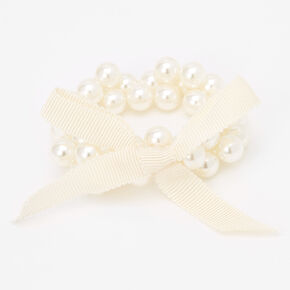 Claire's Club Ribbon Pearl Stretch Bracelet - Ivory,