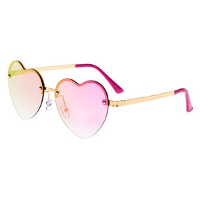 Rimless Heart Sunglasses - Pink,