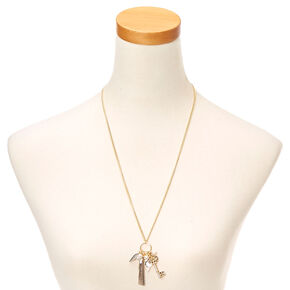 Gold Tassel & Key Cluster Pendant Necklace,