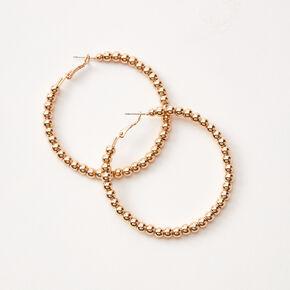 Anneaux d'oreilles perlés 60mm couleur dorée,
