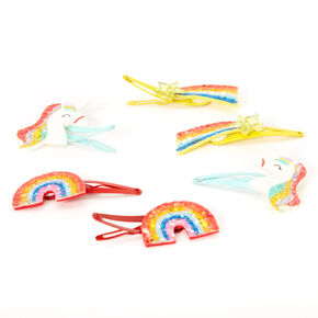 Claire's Club Rainbow Glitter Magical Snap Hair Clips - 6 Pack,