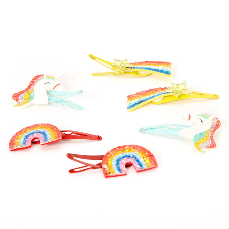 Claire's Club Rainbow Glitter Magical Snap Hair Clips - 6 Pack,