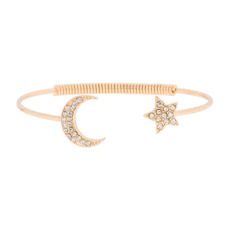 Gold Crystal Moon And Star Open Cuff Bracelet