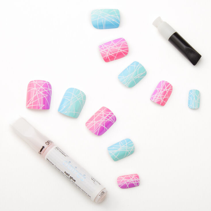 Spider Gel Rainbow Square Faux Nail Set - 24 Pack,
