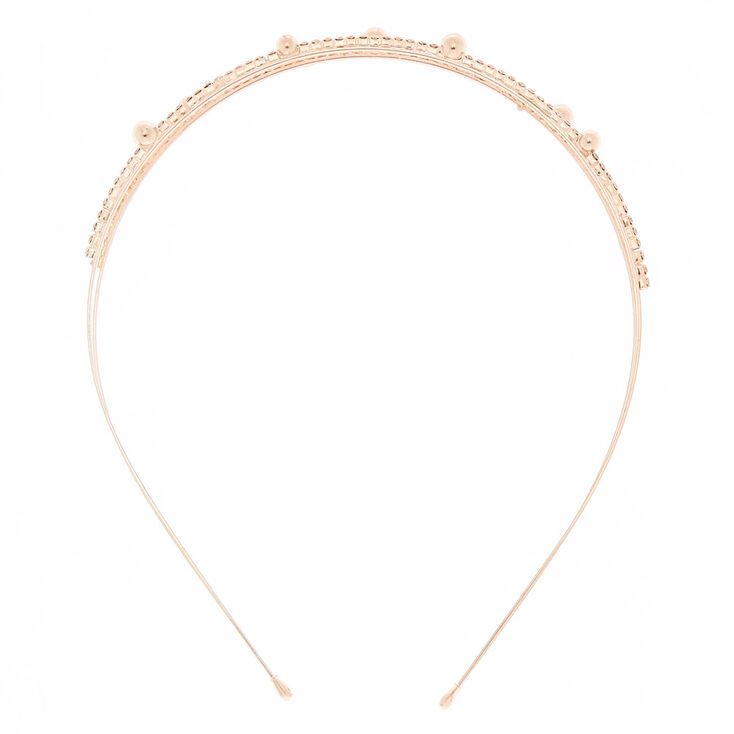 Rose Gold Embellished Double Row Headband Claire S Us