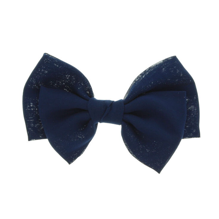 Large Floppy Hair Bow Clip - Navy,