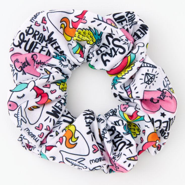 Unicorn Doodle Print Hair Scrunchie,