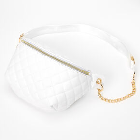Gold Chain Quilted Fanny Pack - White,