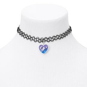 Unicorn Heart Tattoo Choker Necklace - Black,