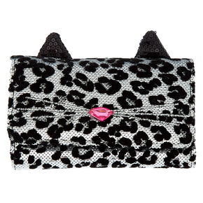 Sequin Leopard Wallet - Black,
