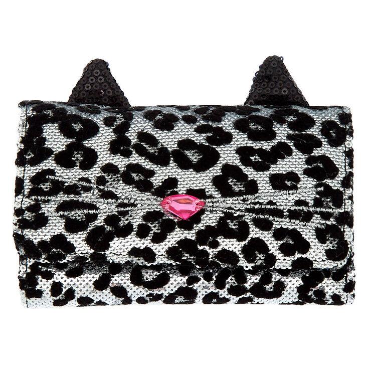 Sequin Leopard Wallet - Black,