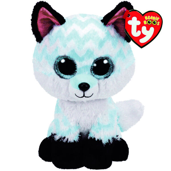 Claire's - ty beanie boo large piper the chevron fox soft toy - 1