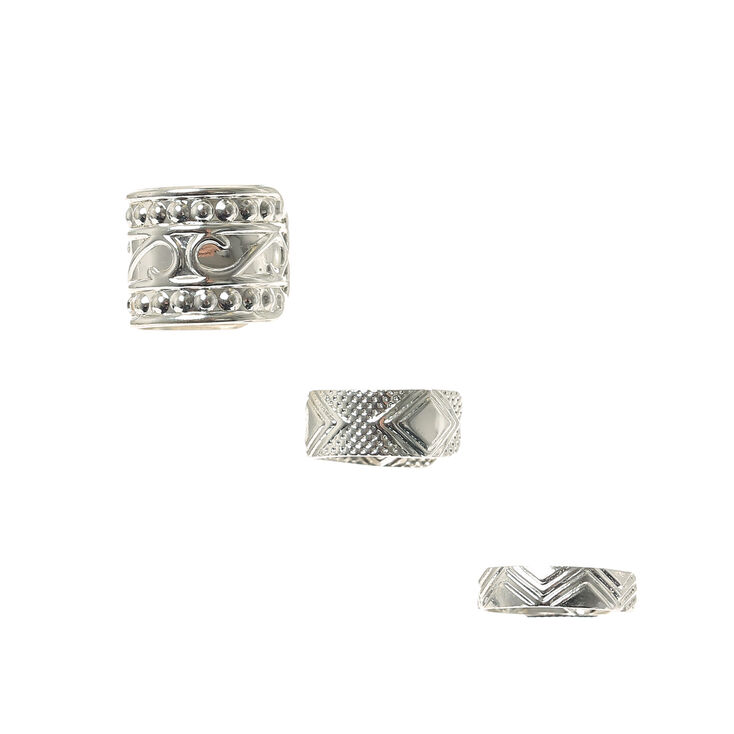 3 Pack Silver Patterned Ear Cuffs,