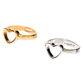 Mixed Metal Best Friends Open Heart Rings - 2 Pack,
