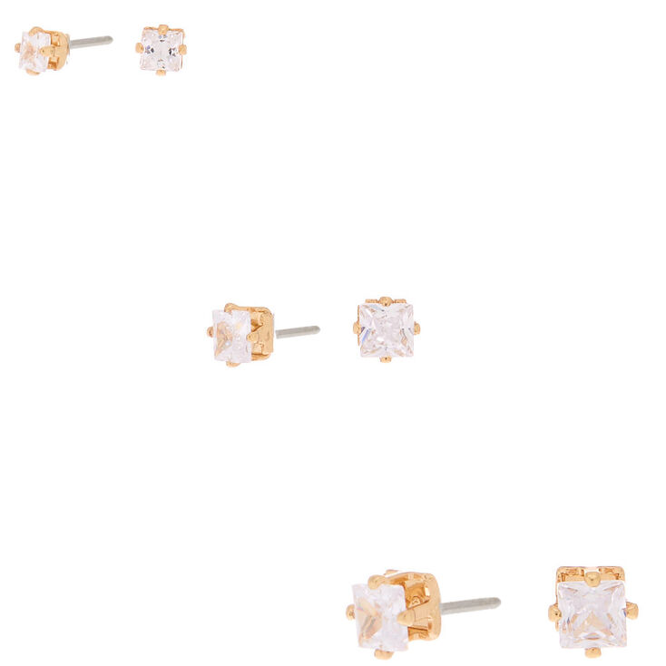 Gold Cubic Zirconia Square Stud Earrings - 3MM, 4MM, 5MM,
