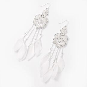 "Silver 5"" Filigree Feather Drop Earrings - White,"