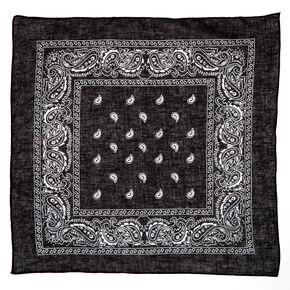 Bandeau bandana motif cachemire - Noir,
