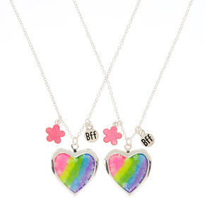 Best friends gifts jewelry claires us best friends rainbow floral heart locket pendant necklaces 2 pack aloadofball Image collections