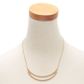 Collier volumineux double barre couleur doré,