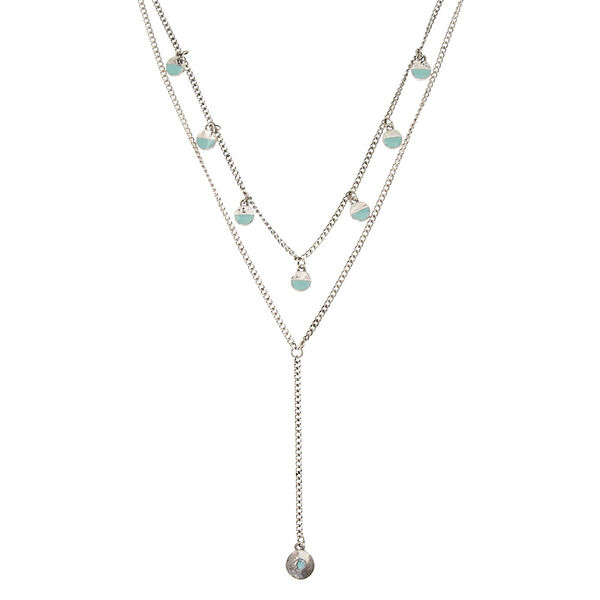 Claire's - double silver tone chain with circle charms necklace - 1