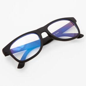 Claire's Club Solar Blue Light Reducing Retro Clear Lens Frames - Black,