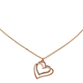 Rose Gold & Crystal Linked Hearts Necklace,