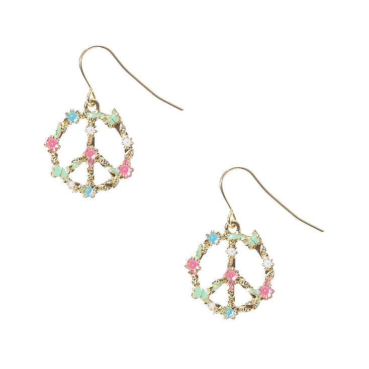 Peace Sign Flower Drop Earrings