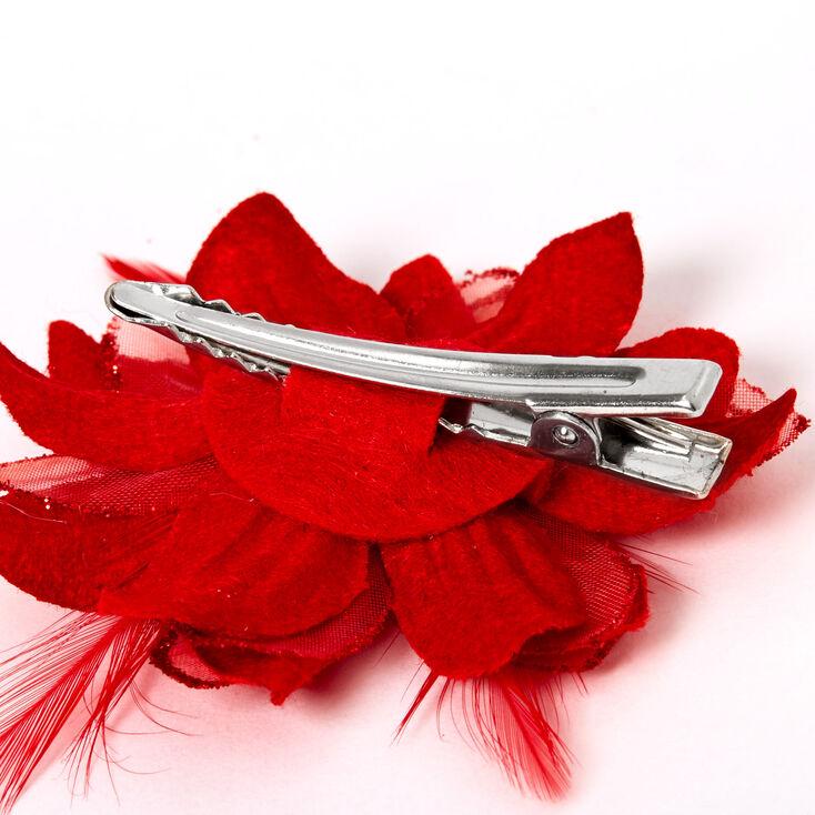 Barrettes à fleurs de lys - Rouge, lot de 2,
