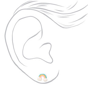Silver Glitter Rainbow Arch Stud Earrings,