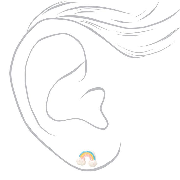 Silver Glitter Rainbow Arch Stud Earrings,